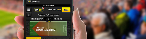 Fonction Play by Play sur l'application mobile Betfirst
